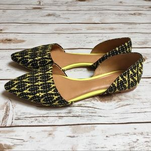 J.Crew Factory neon and black woven d'orsay flats